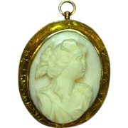 Carved Pink Angel Skin Coral Cameo, Wonderful 14K Gold Detailed Frame Brooch Pin Pendant
