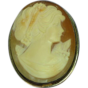 Carved Cameo, Wonderful Sterling Silver Detailed Hand Carved Frame Brooch, Pin,Pendant