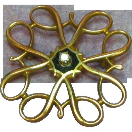 10K Yellow Gold, Vintage Estate Swirl Pin with Diamond