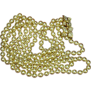 "KJL © 34"" Double Strand Opera Length Golden Glass Pearls Necklace"