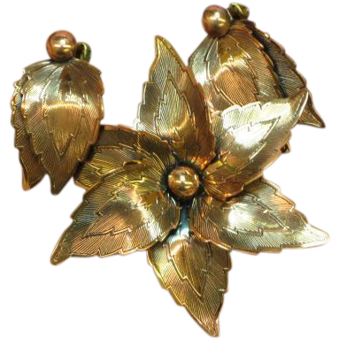 Copper Burnished Flower Leaf Pin and Earrings Demi Parure