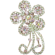 50% OFF SALE Rhinestones Pretty in Pink Flower with A/B Silver Plated Brooch Pin
