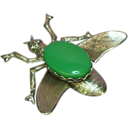 50% OFF SALE Bee Bug Insect Vintage Silver Tone Green Agate Pin Brooch