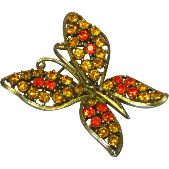 Rhinestones Bright Orange Topaz Butterfly Figural Pin Brooch