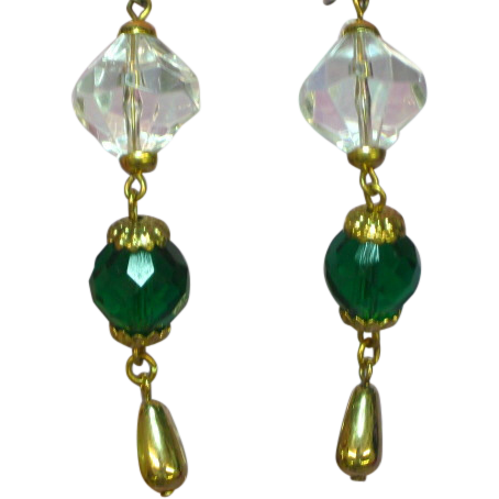 50% OFF SALE Crystal Fun Dangle Earrings Green Faceted Glass Pierced