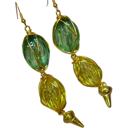 50% OFF Lucite Large Lovely Gold Tone Green Yellow Pierced Earrings