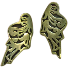 Mexican Mexico Sterling  Native American Hopi Ryan Kuyvaya Earrings