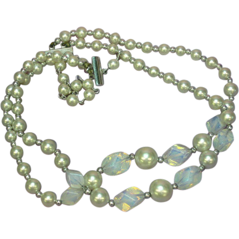 Opaline  Glass Freeform Beads Glass Pearls Double Strand Necklace