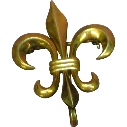 12 kt Gold Filled Fleur-de-Lis Watch or Fob Pin/Chatelaine