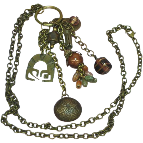 Brass Glass Key  Bobbles Fobs Dangles Charms Sensational Long Necklace