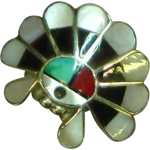 Native American Sterling Silver Sun Face with Bonnet Channel Inlaid Ring