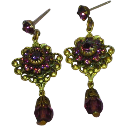 Deco Antiqued Brass Purple Faceted Glass Rhinestones Spectacular Dangle Post Pierced Earrings