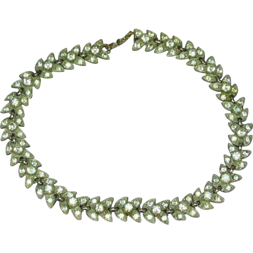 Bogoff Lavish Rhinestones Heavy Rhodium Plate Necklace