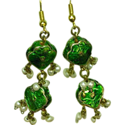 Enamel Vintage Reversible Seed Pearl Rhinestone Dangle Drop Earrings