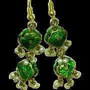 Enamel Vintage Reversible Seed Pearl Rhinestone Dangle Drop Earrings