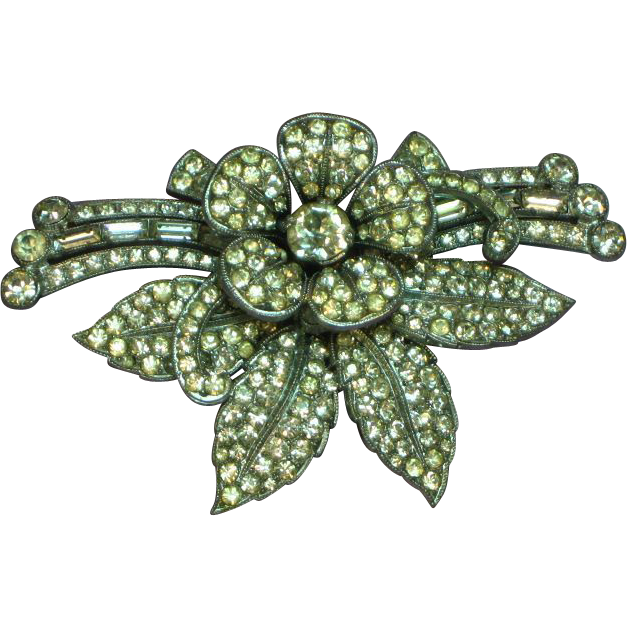 Czechoslovakia Signed Rhodium Plate 3-D Tremblant Clear Paved Rhinestones Brooch Pin
