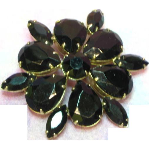 50% OFF SALE Rhinestones Black Glass Massive Gold Plate Pin Brooch