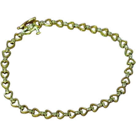 10K Yellow Gold Diamond  Hearts & Flowers Delicate Design Bracelet