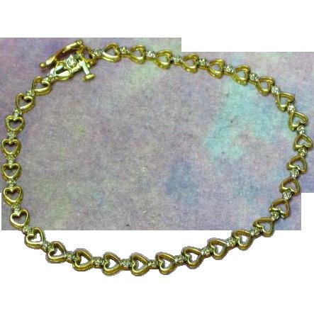 10K Yellow Gold Diamond  Hearts & Flowers Delicate Design Bracelet