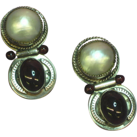 Mabe Pearl & Garnet Sterling Silver Signed Designer Pierced  Earrings