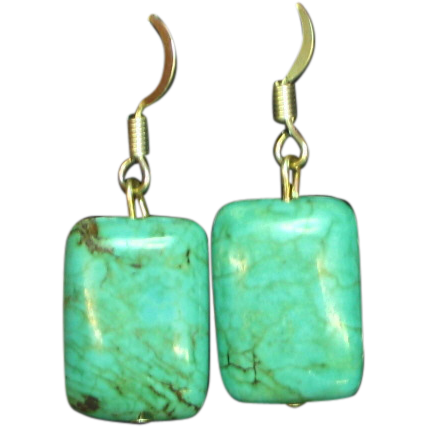 Turquoise and Sterling  Dangle Pierced Earrings