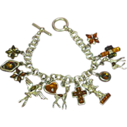 """Genuine Amber  All Sterling Silver  One-of-a-Kind  Figural Charm 7"""" Bracelet"""