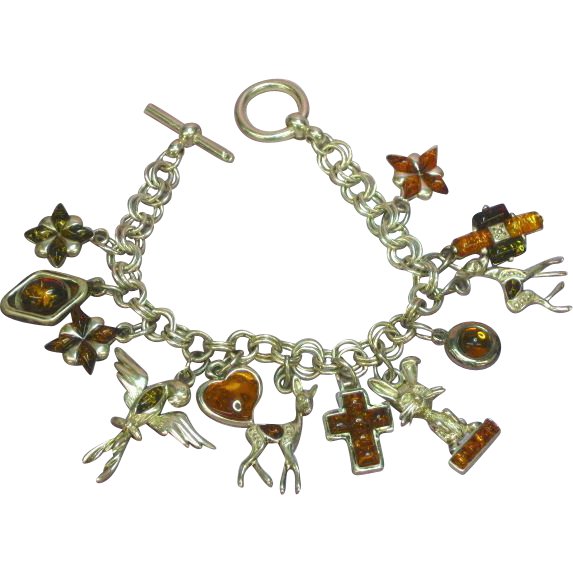 "Genuine Amber  All Sterling Silver  One-of-a-Kind  Figural Charm 7"" Bracelet"