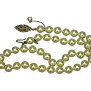 Majorica Majorca Spain Simulated Pearl Hand Knotted Single Princess Strand Necklace