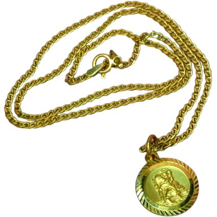 Saint Christopher 375 9K Yellow Gold Italy Marked Chain & Medallion Pendant Necklace