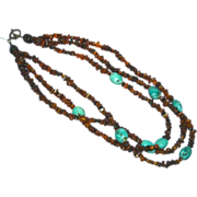 Amber Cognac Russian Turquoise Torsade Triple Strand Necklace