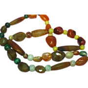 "Mix Beads Chunky Carved Agate Bead Incredible Multi Color Mix Sizes 26"" Necklace"
