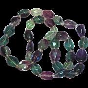 "Tourmaline Fluorite Amethyst Aventurine Chunky Polished Stones 24"" Necklace"