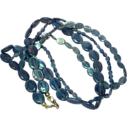 Kyanite Gemstone Gorgeous Brazilian Triple Strand Necklace with Sterling Silver Clasp