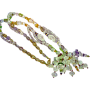 "Art Deco Carved Rock Crystal Quartz All Semi-Precious Faceted and Carved Gemstones with Gold Filled Clasp 22"" Necklace"
