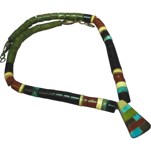 "Native American Indian Hand Rolled Turquoise Pipestone Shell and Onyx Sterling Silver 16"" Necklace"
