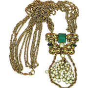 Freirich Marked Spectacular Multi Chain Pearls Chrysophase Necklace