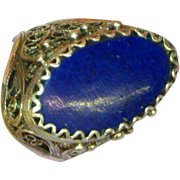 Gemstones Lapis Genuine Stone Filigree Bold Large Estate Sterling Silver Ring