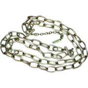 Napier Signed Large Open Links Silvertone Chain Double Strand Necklace