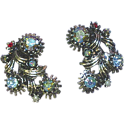 Regency Wonderful  Vitrail Rhinestones Clip Earrings