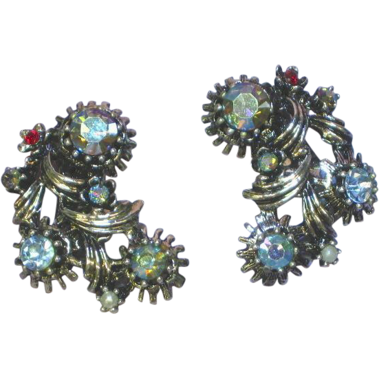 Wonderful Ventage Vitrail Rhinestones Clip Earrings