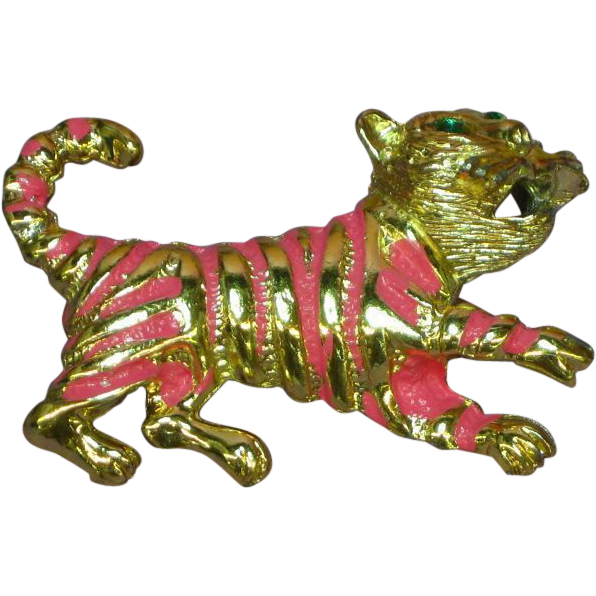 50% OFF SALE Rhinestones The Cats Meow! Pink Enamel Goldtone Kitty Pin Brooch