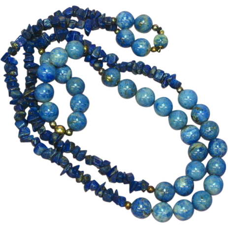 "Gemstones Denim Lapis Beads Lapis Lazuli Chips 32"" Necklace"