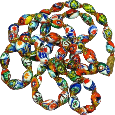 Millefiori Italian Oval Bead Hand Knotted Vintage Necklace
