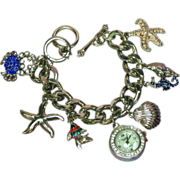 Charm Bracelets Sea Theme Rhodium Plate NOS Large Rhinestones Watch