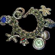 Charm Bracelets Sea Theme Rhodium Plate NOS Large Rhinestones Watch