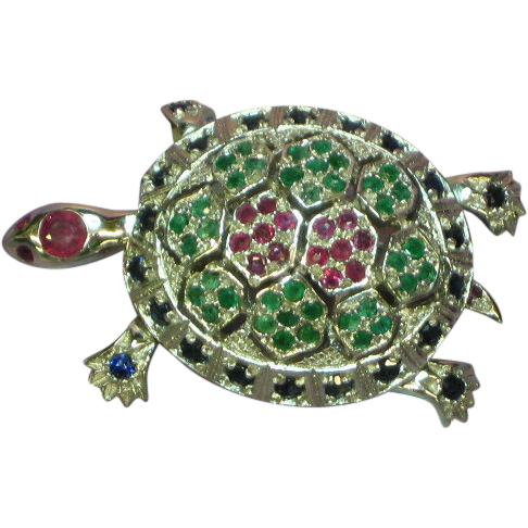 Gemstones Sterling Silver Articulated Large Turtle Pin Pendant Rubies Emeralds Sapphires Fine Jewelry Brooch