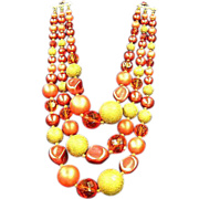 50% OFF SALE Japan,Oranges and Cream Yumm Bead Triple Strand Big Beads Necklace