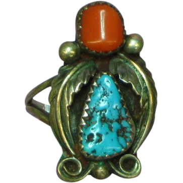 Native American Sterling Silver,Turquoise Coral Ring Size 7