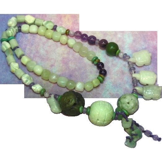 """SALE!  Jade Large Hand Carved Amethyst Turquoise OOAK Designer 24"""" Necklace"""