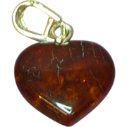 Amber Honey Cognac Dangle Sterling Silver Heart Pendant